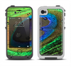 The Watered Neon Peacock Feather Apple iPhone 4-4s LifeProof Fre Case Skin Set