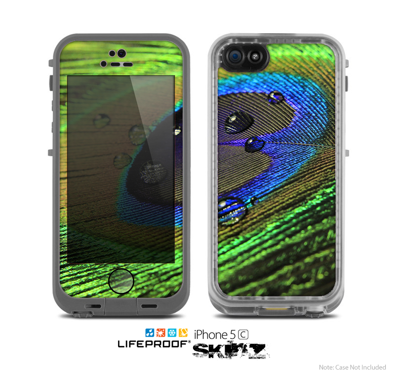 The Watered Neon Peacock Feather Skin for the Apple iPhone 5c LifeProof Case