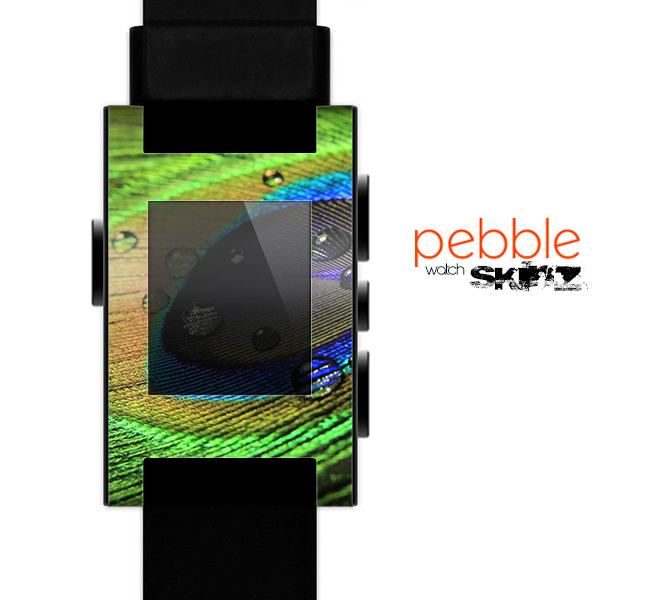 The Watered Neon Peacock Feather Skin for the Pebble SmartWatch