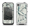 The White Cracked Woven Texture Apple iPhone 4-4s LifeProof Fre Case Skin Set