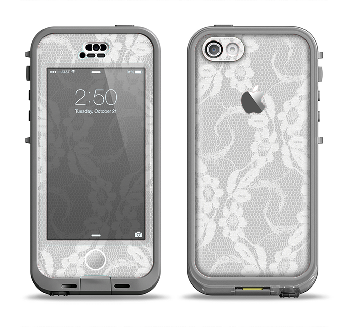 The White Floral Lace Apple iPhone 5c LifeProof Nuud Case Skin Set