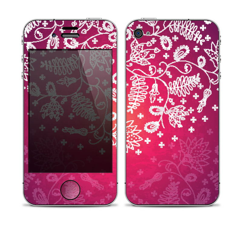 The White Flower Ornament on Pink Skin for the Apple iPhone 4-4s
