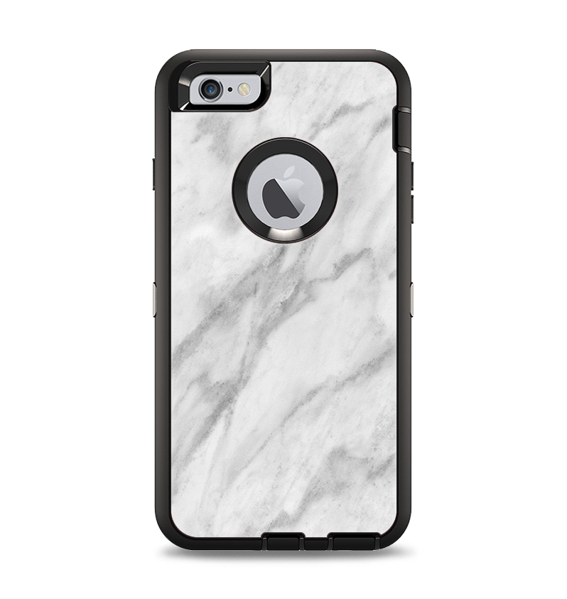 The White Marble Surface Apple iPhone 6 Plus Otterbox Defender Case Skin Set
