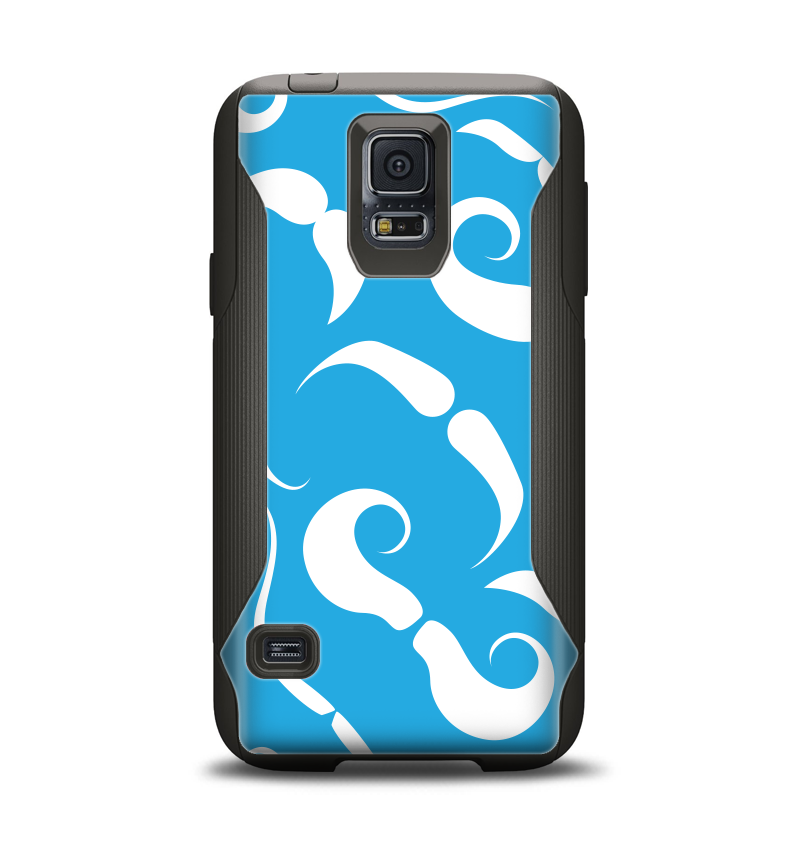 The White Mustaches with blue background Samsung Galaxy S5 Otterbox Commuter Case Skin Set