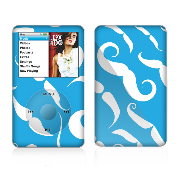 The White Mustaches with blue background Skin For The Apple iPod Classic