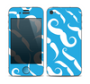 The White Mustaches with blue background Skin for the Apple iPhone 4-4s