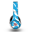 The White Mustaches with blue background Skin for the Original Beats by Dre Studio Headphones