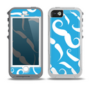 The White Mustaches with blue background Skin for the iPhone 5-5s OtterBox Preserver WaterProof Case