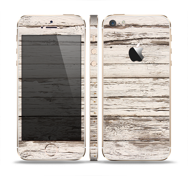The White Painted Aged Wood Planks Skin Set for the Apple iPhone 5s