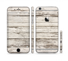 The White Painted Aged Wood Planks Sectioned Skin Series for the Apple iPhone 6
