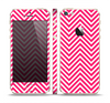 The White & Pink Sharp Chevron Pattern Skin Set for the Apple iPhone 5s