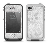 The White Textured Lace Apple iPhone 4-4s LifeProof Fre Case Skin Set