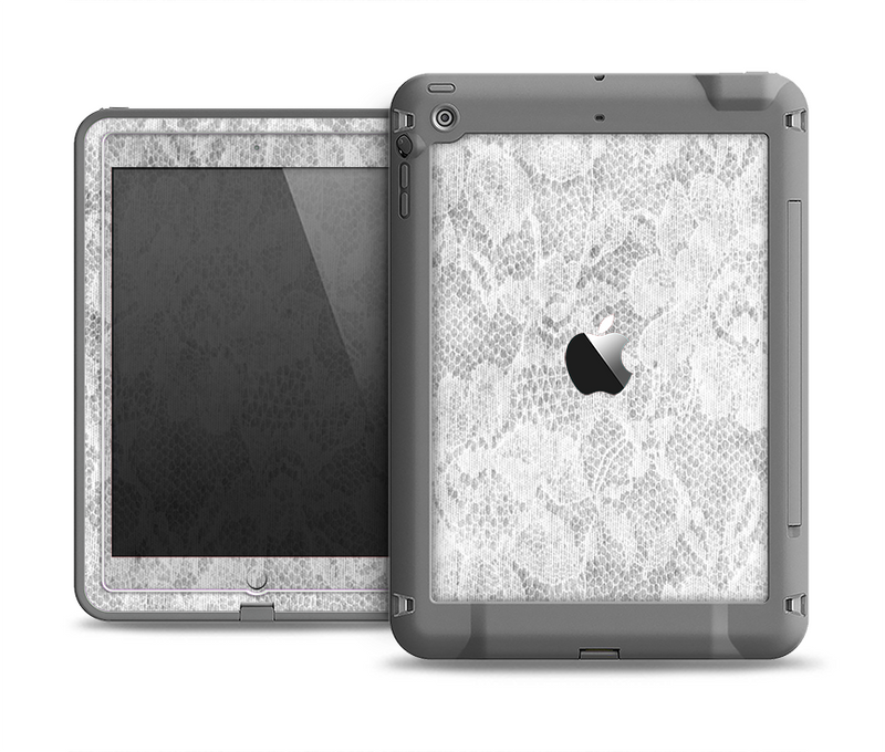 The White Textured Lace Apple iPad Air LifeProof Fre Case Skin Set