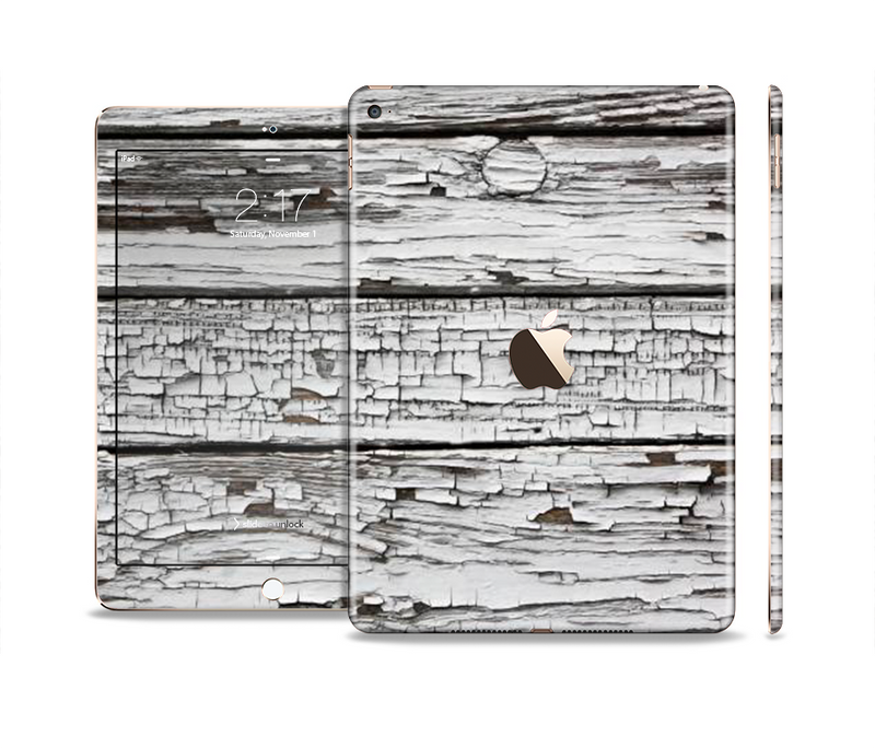 The White Wide Aged Wood Planks Skin Set for the Apple iPad Pro