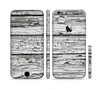 The White Wide Aged Wood Planks Sectioned Skin Series for the Apple iPhone 6