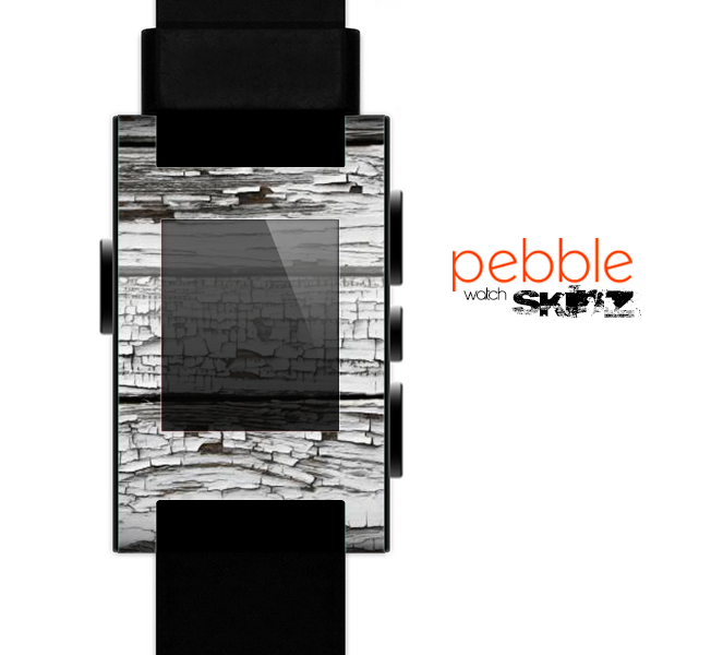 The White Wide Aged Wood Planks Skin for the Pebble SmartWatch