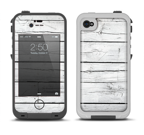 The White Wood Planks Apple iPhone 4-4s LifeProof Fre Case Skin Set