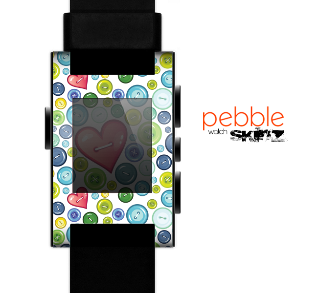 The White & Vintage Vector Heart Buttons Skin for the Pebble SmartWatch