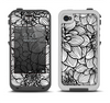 The White and Black Flower Illustration Apple iPhone 4-4s LifeProof Fre Case Skin Set