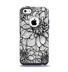 The White and Black Flower Illustration Apple iPhone 5c Otterbox Commuter Case Skin Set