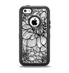The White and Black Flower Illustration Apple iPhone 5c Otterbox Defender Case Skin Set