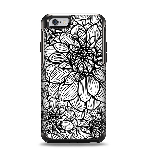 The White and Black Flower Illustration Apple iPhone 6 Otterbox Symmetry Case Skin Set