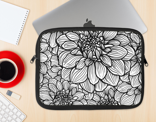 The White and Black Flower Illustration Ink-Fuzed NeoPrene MacBook Laptop Sleeve