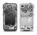 The White and Black Real Leopard Print Apple iPhone 4-4s LifeProof Fre Case Skin Set