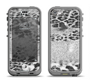 The White and Black Real Leopard Print Apple iPhone 5c LifeProof Nuud Case Skin Set