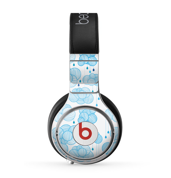 The White and Blue Raining Yarn Clouds Skin for the Beats by Dre Pro Headphones