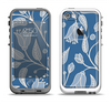 The White and Blue Vector Branches Apple iPhone 5-5s LifeProof Fre Case Skin Set