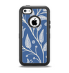 The White and Blue Vector Branches Apple iPhone 5c Otterbox Defender Case Skin Set