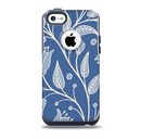 The White and Blue Vector Branches Skin for the iPhone 5c OtterBox Commuter Case