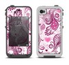 The White and Pink Birds with Floral Pattern Apple iPhone 4-4s LifeProof Fre Case Skin Set