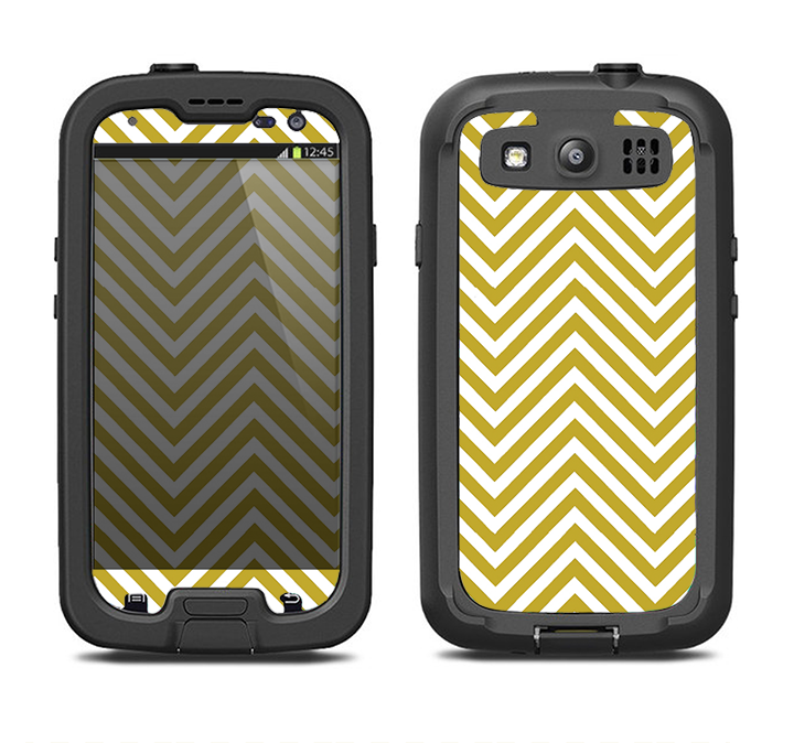 The White & vintage Green Sharp Chevron Pattern Samsung Galaxy S3 LifeProof Fre Case Skin Set