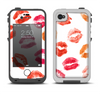 The White with Colored Pucker Lip Prints Apple iPhone 4-4s LifeProof Fre Case Skin Set