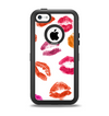 The White with Colored Pucker Lip Prints Apple iPhone 5c Otterbox Defender Case Skin Set