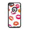 The White with Colored Pucker Lip Prints Apple iPhone 6 Plus Otterbox Defender Case Skin Set