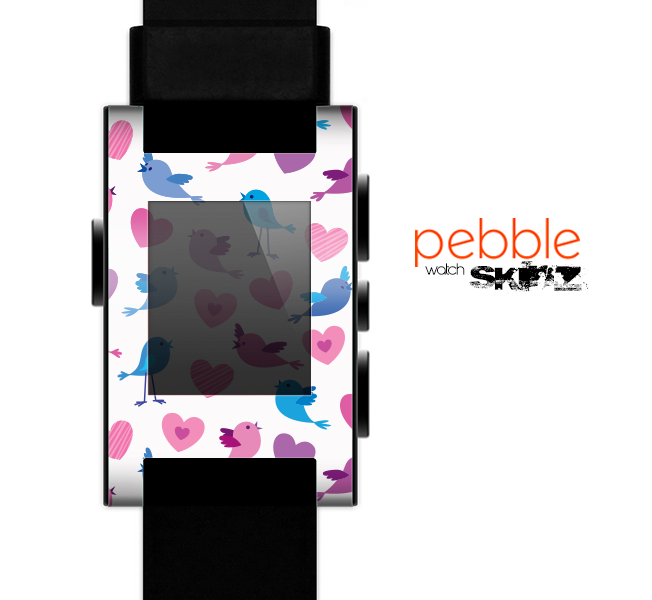 The White with Pink & Blue Vector Tweety Birds Skin for the Pebble SmartWatch