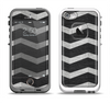 The Wide Black and Light Gray Chevron Pattern V3 Apple iPhone 5-5s LifeProof Fre Case Skin Set