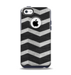 The Wide Black and Light Gray Chevron Pattern V3 Apple iPhone 5c Otterbox Commuter Case Skin Set