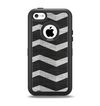 The Wide Black and Light Gray Chevron Pattern V3 Apple iPhone 5c Otterbox Defender Case Skin Set