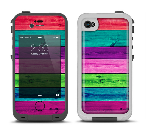 The Wide Neon Wood Planks Apple iPhone 4-4s LifeProof Fre Case Skin Set
