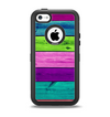 The Wide Neon Wood Planks Apple iPhone 5c Otterbox Defender Case Skin Set