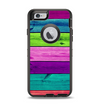 The Wide Neon Wood Planks Apple iPhone 6 Otterbox Defender Case Skin Set
