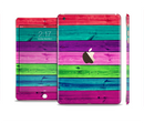 The Wide Neon Wood Planks Full Body Skin Set for the Apple iPad Mini 3