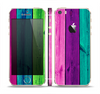 The Wide Neon Wood Planks Skin Set for the Apple iPhone 5s