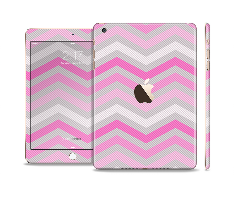 The Wide Pink Vintage Colored Chevron Pattern V6 Full Body Skin Set for the Apple iPad Mini 3