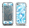 The Wild Blue Swirly Vector Water Pattern Apple iPhone 5-5s LifeProof Nuud Case Skin Set