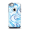 The Wild Blue Swirly Vector Water Pattern Apple iPhone 5c Otterbox Commuter Case Skin Set